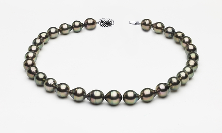 10 x 12mm Tahitian Pearl Peacock Baroque Necklace