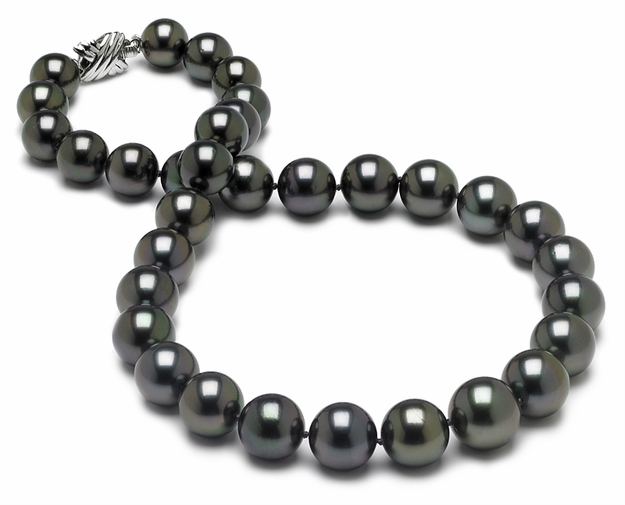 10 x 13mm Aubergine Tahitian Pearl Necklace - 16 inch