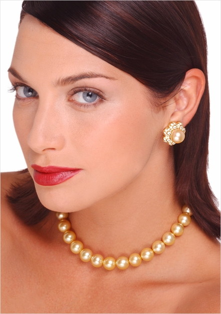 10 x 13mm Golden South Sea Cultured Pearl Necklace