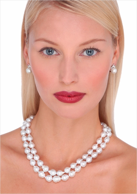 10 X 13mm White South Sea Circle Ring Baroque Cultured Pearl Necklace - 17, 18 inches