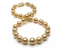 10 x 14.4mm Golden Pearl Necklace Baroque