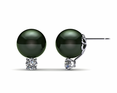 10mm Black South Sea Tahitian Pearl Earring with .5 carat t.d.w