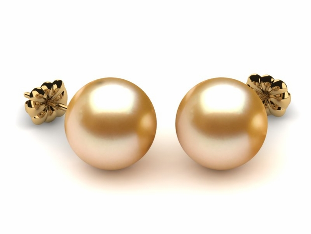 10mm Golden Pearl South Sea Earring