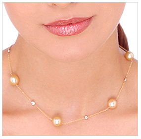 10mm Golden South Sea Cultured Pearl Tin Cup Necklace