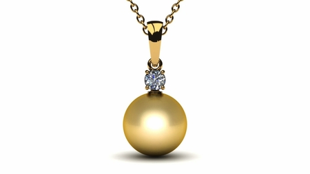 10mm golden south sea pearl pendant with 25 carat diamond g vs aloadofball Image collections