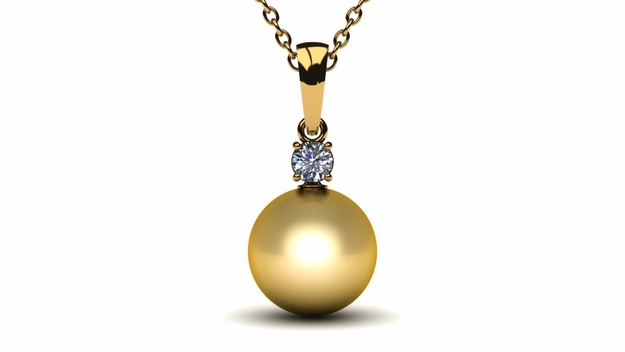 10mm Golden South Sea Pearl Pendant with .25 carat diamond (G, VS)