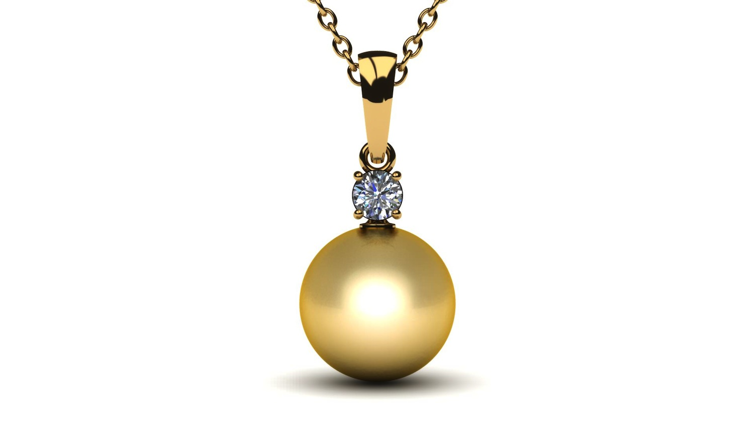 10mm Golden South Sea Pearl Pendant With 25 Carat Diamond