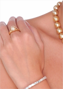 10mm Golden South Sea Pearl Ring