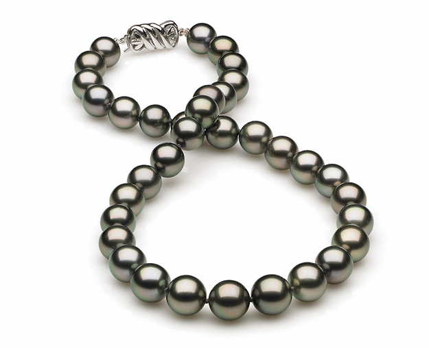 10mm to 11mm A Quality Black Tahitian Pearl Necklace