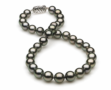 10mm to 11mm C Quality Black Tahitian Pearl Necklace