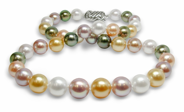 10mm to 11mm Natural Color Rainbow Pearl Necklace