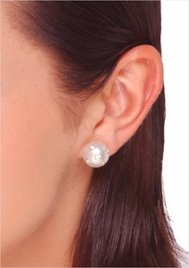 10mm White Australian South Sea Cultured Pearl Studded with Diamond Earrings