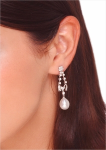 10mm White South Sea Tear-Drop and Platinum Earring