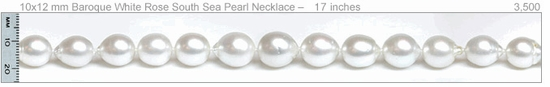 10x12 mm Baroque White Rose South Sea Pearl Necklace – 14 inches