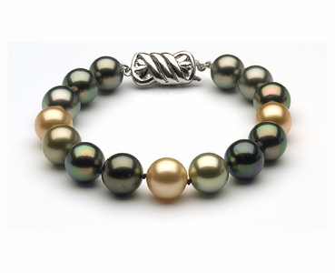 11.5 x 12mm Tahitian & Gold South Sea Pearl Bracelet