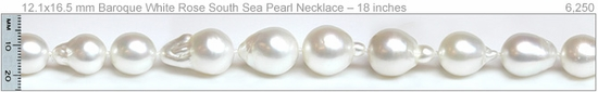 11.5x15 mm Baroque White Rose South Sea Pearl Necklace – 18 inches