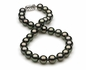 11 x 11.9mm Black Green Tahitian Pearl Necklace