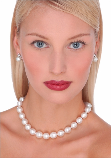 11 x 12mm Semiround White Australian South Sea Cultured Pearl Necklace 16 inches