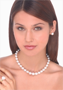 11 x 12mm White Australian South Sea Cultured Pearl Necklace - 16 inches