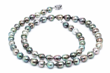 11 x 13m Multicolor Baroque Tahitian Pearl Necklace 32 Inches