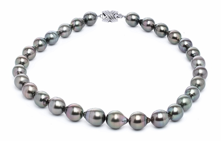 11 x 13mm Black Baroque Tahitian Pearl Necklace