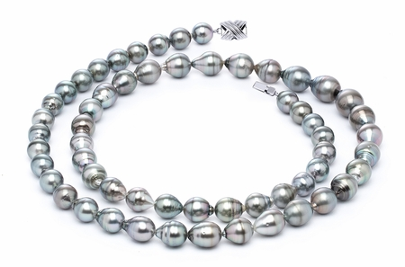 11 x 13mm Grey Baroque Tahitian Pearl Necklace 32 Inches