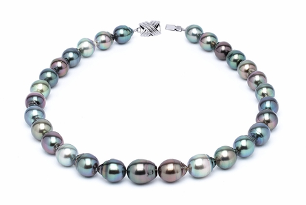 11 x 13mm Multicolor Baroque Tahitian Pearl Necklace 32 Inches