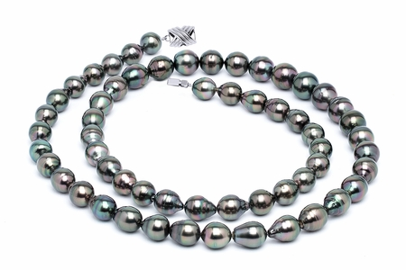 11 x 13mm Peacock Baroque Tahitian Pearl Necklace 32 Inches