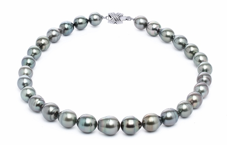 11 x 13mm Tahitian South Sea Dark Black Green Baroque Pearl Necklace