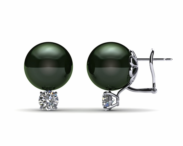 11mm Black South Sea Tahitian Pearl Earring with .70 carats tdw