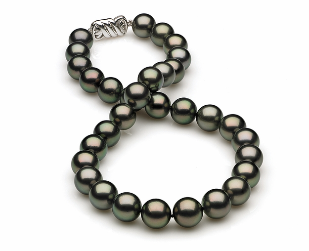 11mm to 12mm A Quality Black Tahitian Pearl Necklace