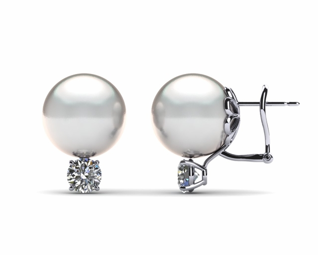 11mm White South Sea Pearl Earring & .70 carat tw Diamond