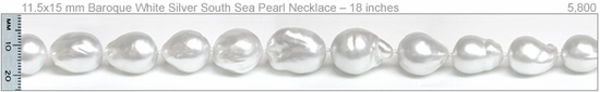 12.1x16.5 mm Baroque White Silver South Sea Pearl Necklace – 18 inches