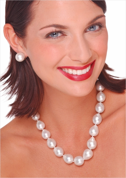 12.5 x 17.2mm White South Sea Baroque Cultured Pearl Necklace