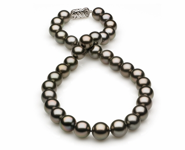 12 x 13.7mm Dark Grey Rose Tahitian Pearl Necklace