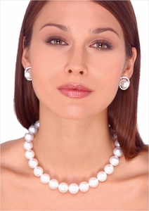 12 x 13.7mm White Australian South Sea Pearl Necklace - 16 inches