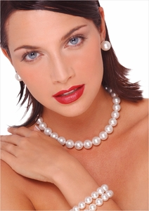 12 x 14.2mm White Australian South Sea Cultured Pearl Necklace