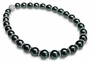 12 x 14mm Black Tahitian Cultured Pearls with Rondell and Diamond Ball Clasp Necklace - 16 inches