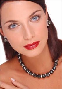 12 x 14mm Tahitian Cultured Pearl and Diamond Rondell Necklace