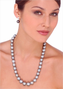 12 x 15mm Dove Silver Tahitian Cultured Pearl Necklace - 20 inches
