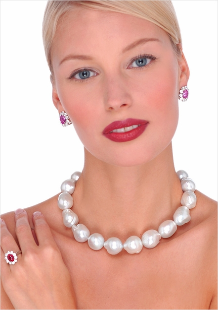 12 x 15mm White Australian Baroque Cultured Pearl Necklace  - 16 inches