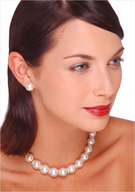 12 X 15mm White Australian South Sea Pearl and Diamond Rondell Necklace