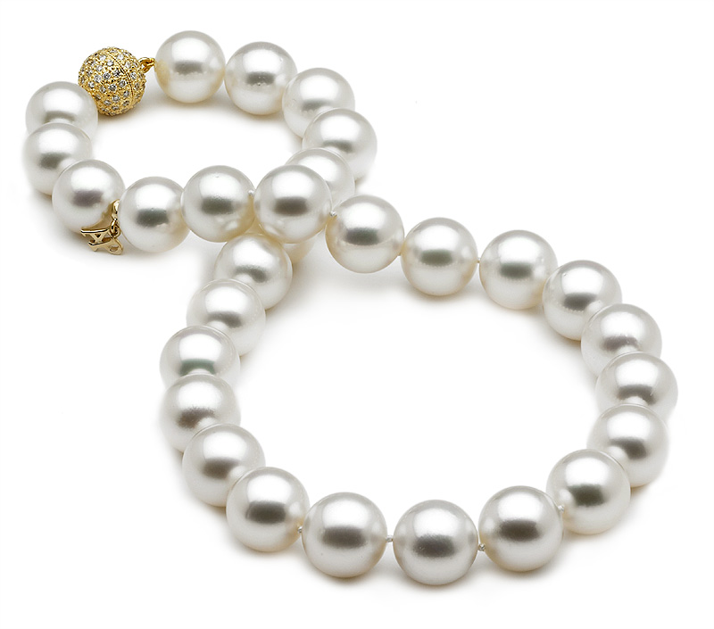 White South Sea Cultured Pearl Necklace 12 Mm X 15 Mm