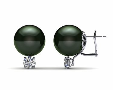 12mm Black South Sea Tahitian Pearl Earring with .8 carat t.d.w