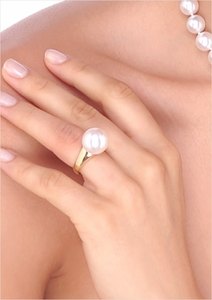 12mm White Australian South Sea Cultured Pearl Ring