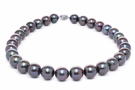 12mm x 15mm Black Freshwater Cultured Pearl Necklace