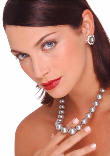 13 x 16mm Tahitian Cultured Pearl Necklace and Diamond Ball Clasp