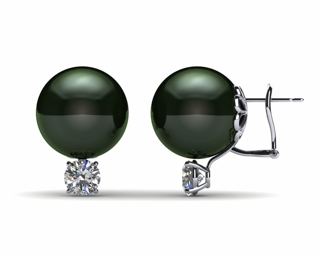 13mm Black South Sea Tahitian Pearl Earring with 1.0 carat t.d.w