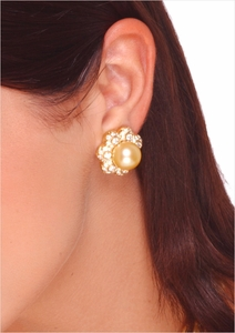 13mm Golden South Sea Pearl and Diamond Earring