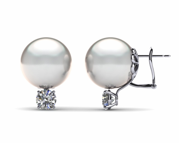 13mm White South Sea Pearl Earring & 1.0 carat tw Diamond